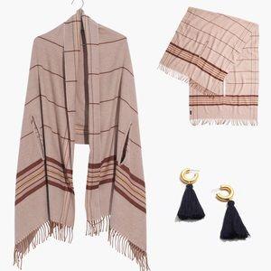 BUNDLE madewell tassel earrings & cape scarf